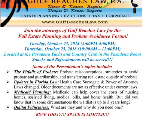 Fall Estate Planning and Probate Avoidance Forum!
